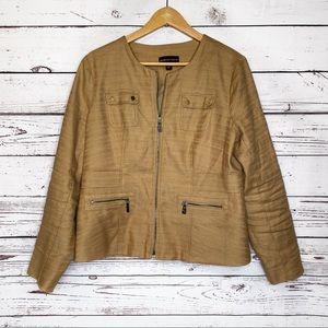 Dana Buchman | blazer jacket brown ochre zip linen